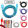 3M Long Braided USB Charger Data Charging Cable Lead For iPhone 6s 7 8 6 5s X XR