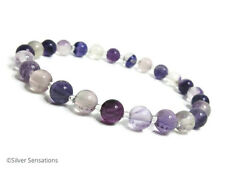 Purple & Clear Fluorite Slim Beaded Stretchy Unisex Fashion Bracelet Gift