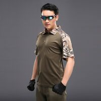 Men's Army Tactical Combat Military Camo Short T Shirt Gear Operator Polo Shirt
