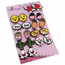 COLORFUL CARTOON GRAFFITI ART DESIGN CLIP ON EARRINGS FOR TEEN GIRLS KIDS WOMENS