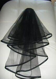2 Tier Black Satin Bridal Trim Veil / Halloween / FREE POSTAGE.