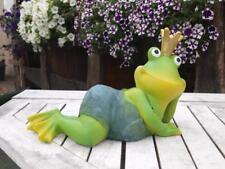 Frosch Figur Froschkönig liegend Krone  NEUHEIT  Gartendeko Frosch