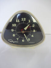 Vtg Triangle Electric Alarm Clock White Ingraham Luminous Black Face Mid Century