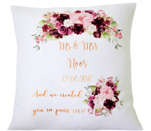 "Personalised Wedding rose Mr & Mrs - 16"" cushion cover Mr/Mrs wedding gift"
