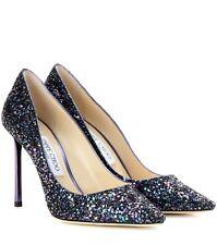 9a8281949bfa NEW - Jimmy Choo Romy 85 Glitter Petrol Blue Heels - Size 35