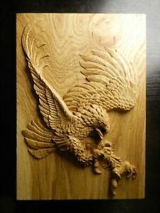 Wood carved picture wall decoration plaque. Eagle. Perfect gift