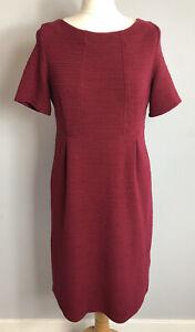 WHITE STUFF Size 12 Berry Red Smart Dress Workwear Ladies Winter Autumn Warm