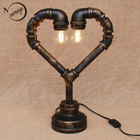 Industrial Steam Punk Pipe Heart Desk Lights Table Lamp Sconce Lighting Fixtures