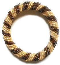 Bead Bracelet - Handmade African Kenyan Bangle Jewelry - Glossy Brown Twist