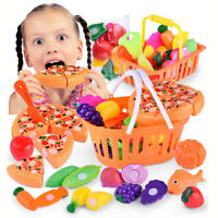 Kids Pretend Role Play Kitchen Fruit Vegetable Food Toy Cutting Set Gift Toy