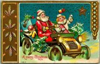 Santa Claus in Car with Girl~Toys~Antique Embossed Christmas Postcard-s494