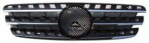 Front Grille Fit for 96-05 Mercedes Benz W163 M-Class ML Chrome & Black w/Emblem