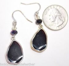 Teardrop Dangle & Iridescent Bead Hook Pierced Earrings, Black Enamel Freeform
