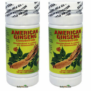 2x American Ginseng Concentrate Extract (Pannox Gisennoids) 500 mg 200 Capsules