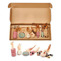 7Pcs Cat Toy Teaser Pet Toys Kitten Small Feather Bell Mouse Wood Pole Cat Stick