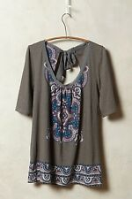 NWT ANTHROPOLOGIE Brilliant  Bowknot Tee by Akemi Kin Cotton Gray M