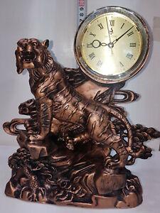 Copper Colour Tiger Figurine 30cm Tall Statue Superior floating Clock Movement