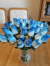 3 DOZEN - WHITE/BLUE WOODEN ROSE BUDS 5 X 8 ARTIFICIAL FLOWERS - FREE SHIPPING