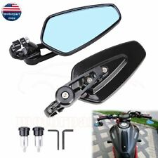 """Universal 7/8"""" Handle Bar End Rearview Side Mirrors Motorcycle For Honda Ducati"""