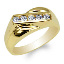 JamesJenny 10K Yellow Gold Channel Round CZ Mens Fancy Band Ring Size 7-12