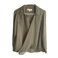Michael Kors Women's Green Long Sleeve Blouse Top Size 10 (Medium)