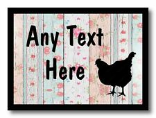 Chicken Hen Shabby Wood Personalised Dinner Table Placemat