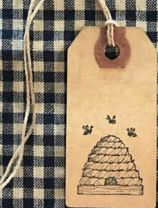 25 Small Black BEE HIVE Primitive Coffee Stained Price Hang Tags gift honey lot