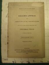Original SERMON: UNIVERSAL PEACE Boston - 1836 - 38pgs, removed,
