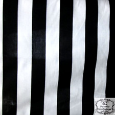 Stripe Extra-Large Black White Poly Cotton 58 Inch Fabric By the Yard