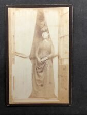Victorian Photo: Cabinet Card: Unknown Smart Dress Lady At French Doors