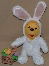 """11"""" Winnie The Pooh Bear Wearing White Easter Bunny Outfit Suit Plush Dolls Toys"""