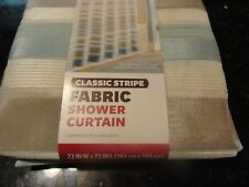 nwt BH&G Fabric SHOWER Curtain~Blue Tan Cream~shimmery~horizonal Classic Stripe~
