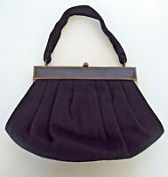 Vintage Viva Art Deco Purse Black Wool Sleek Lucite Mid Century Modern Handbag