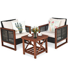 3Pcs Patio Wicker Furniture Set Conversation Bistro Cushion Sofa Square Table