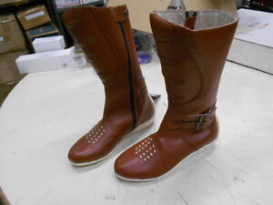 """Icon Sacred 12"""" Tall Leather Motorcycle Riding Boots Brown Women's 7.5"""