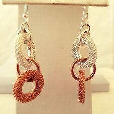 Gold Filled Silver And Rose Gold Double Circle  Hook Earrings