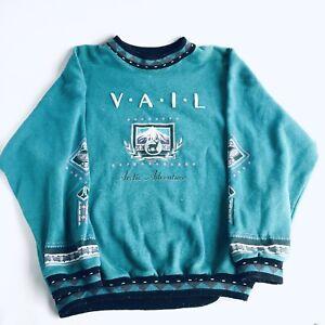 Vintage 80's 90's Vail Ski Sweatshirt Southwestern Mens Turquoise Pink XL Pastel