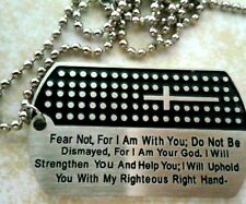 Cross Jesus Dog Tag Cross Christian Bible Verse Pendant Necklace