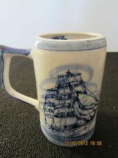 """""""Royal Delft"""", Hand Painted Tall Ship Tankard"""