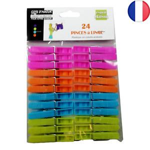 24 X Pinces à Linge Colorées Flashies en Plastique étendre vos Linges Sécher