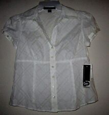 JOSEPHINE CHAUS PETITE White Career Dressy Semi Sheer Blouse Top Shirt 10P NWT