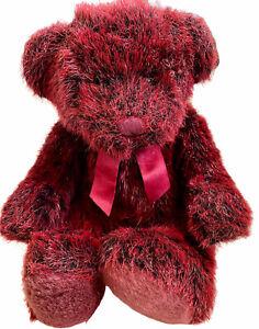 "Vintage Russ Red & Black Teddy Bear Romanoff Stuffed Plush RED BERRY BEAR 18"""