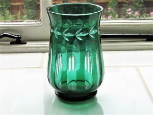 Bohemian / Czech Style Green Cut to Clear Glass Vase 15.5cm high