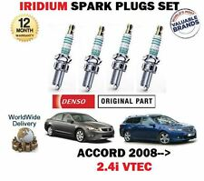 FOR HONDA ACCORD + TOURER 2.4 VTEC K24Z3 2008-> NEW IRIDIUM 4 SPARK PLUGS SET