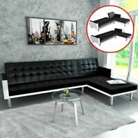 US L-shaped Sofa Bed Artificial Leather Black and White Lounge Couch Seat