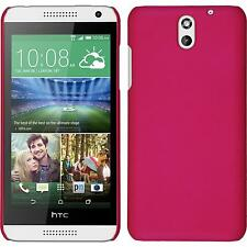 Hardcase HTC Desire 610 rubberized hot pink Cover + protective foils