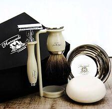 5 piezas Conjunto de afeitado Negro Badger Cepillo & Safety Razor Clásico para Hombres Aseo