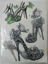 Planche de tatouages temporaires temporary tattoos chaussures talons heels girly