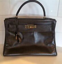 Hermes 28cm Marron Fonce Calf Box Leather Retourne Kelly Bag with Gold Hardware