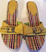 Antonio Melani Yellow Leather Strappy High Heel Sandals Size US 8.5M GUC